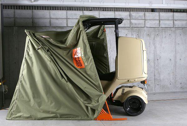 ストレージバイクシェルターにミニカー登録ジャイロキャノピーの収納イメージ