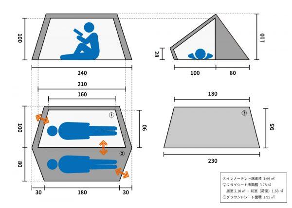 バックフリップバイシクルテントのサイズ